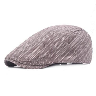 貝雷帽鴨舌帽-簡約條紋時尚棉質男女帽子3色73tv159【獨家進口】【米蘭精品】