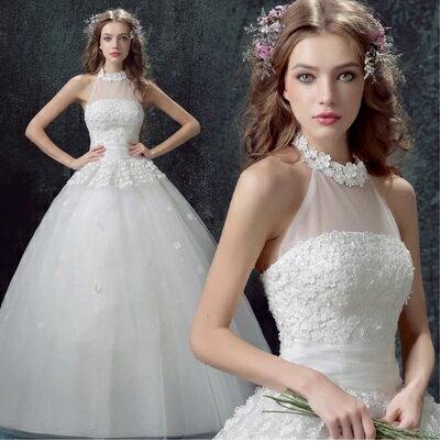 天使嫁衣【AE307】甜美花片掛脖露背齊地婚紗禮服˙預購訂製款