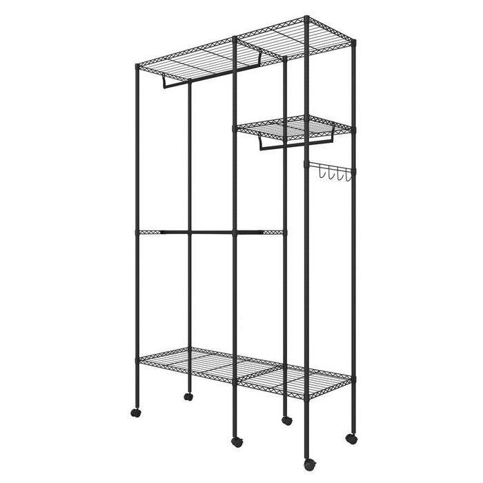 Wire Shelving Garment Rack Closet Hanger Organizer with Wheels 3