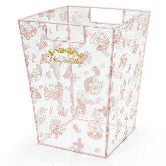 【真愛日本】16060800041透明垃圾筒-MM草莓  三麗鷗家族 Melody 美樂蒂  置物籃 收納箱