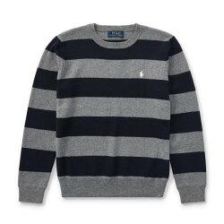 美國百分百【Ralph Lauren】針織衫 RL 線衫 Polo 小馬 圓領 條紋 深藍灰色 青年版 I730