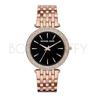 MK3402 MICHAEL KORS 玫瑰金黑面超薄精鋼防水石英錶女錶