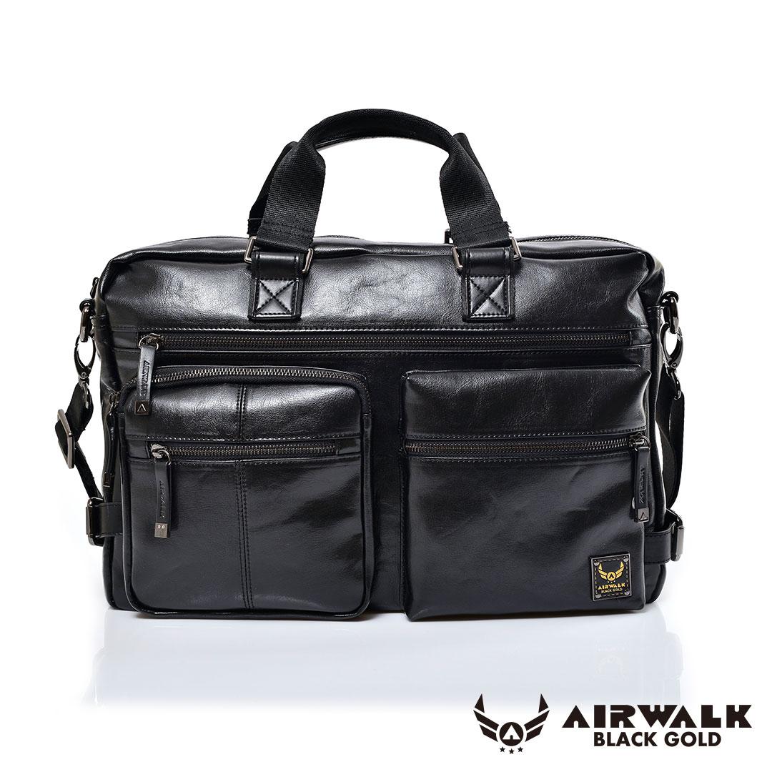 AIRWALK黑金系列-雅緻爵士雙口袋大容量公事包-黑