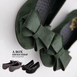 零碼40 MIT台灣製 典雅素面質感絨布蝴蝶結 舒適乳膠鞋墊 豆豆鞋 走路鞋  2色【KT8667】