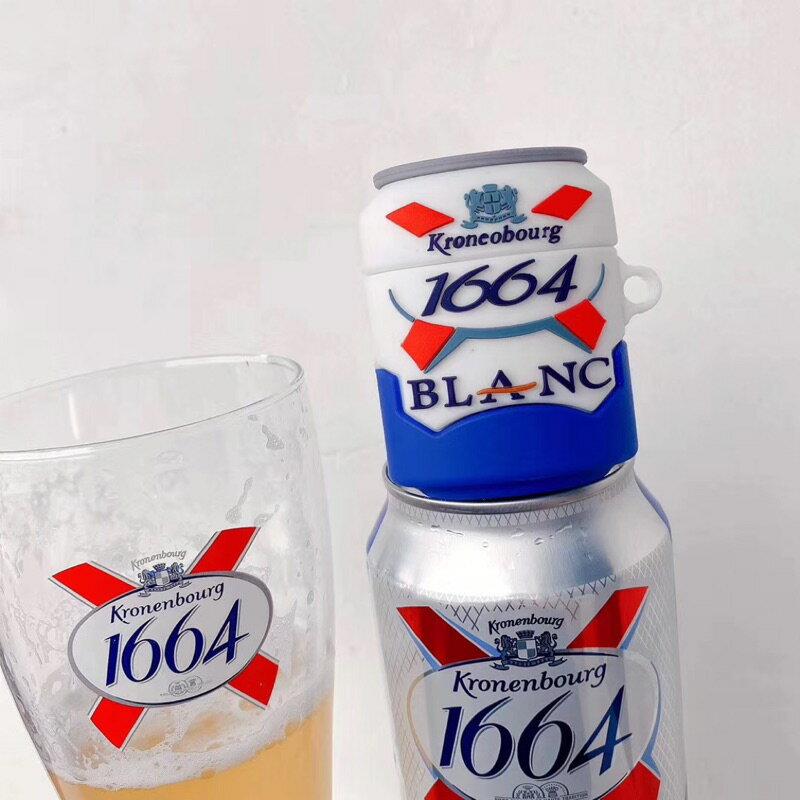 1664 blanc啤酒airpods1/2代通用 矽膠保護套 台灣現貨