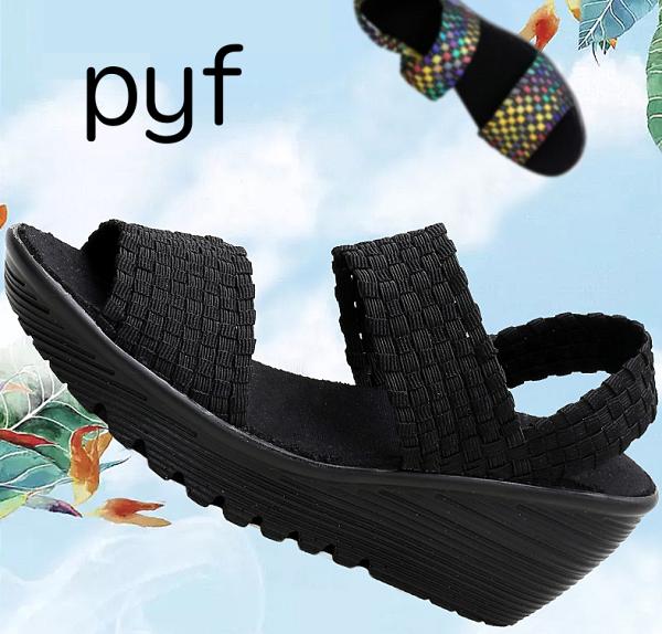 Pyf♥舒適好走寬版帶透氣女鞋厚底彈力編織涼鞋楔型氣墊鞋41大尺碼女鞋