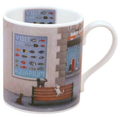 Hudson英國骨瓷馬克杯-貓與水族館(Aquarium)