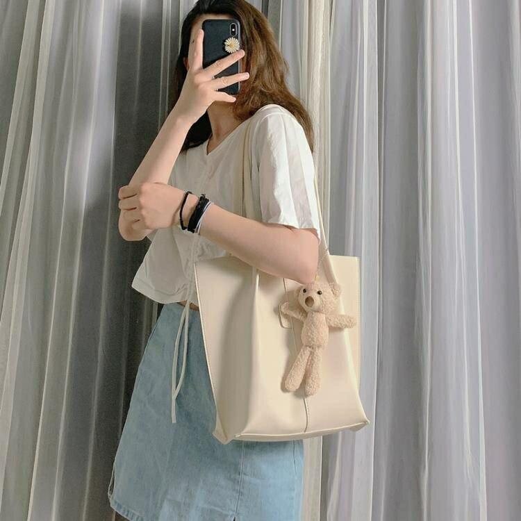 【快速出貨】包包女2020新款潮韓版可愛少女手提包百搭大容量托特包時尚單肩包 聖誕節交換禮物