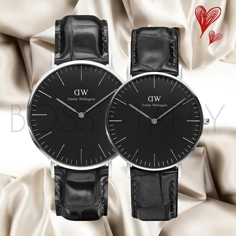 DanielWellington黑色壓紋皮革對錶組
