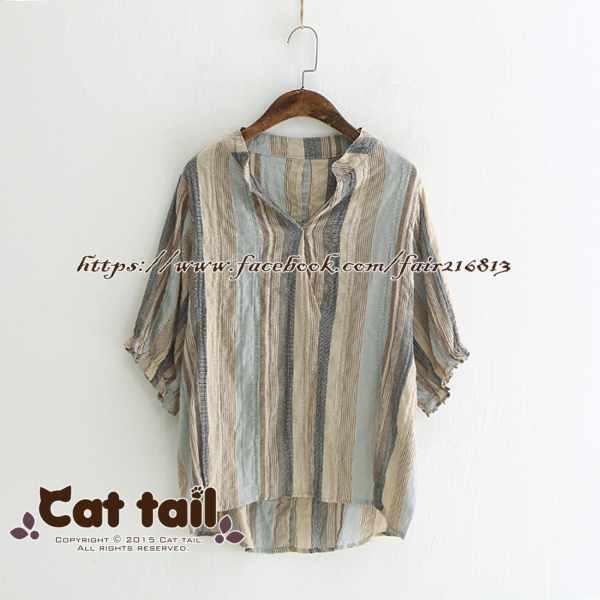 《貓尾巴》LZ-03225簡約個性豎條紋短袖上衣(森林系日系棉麻文青清新)