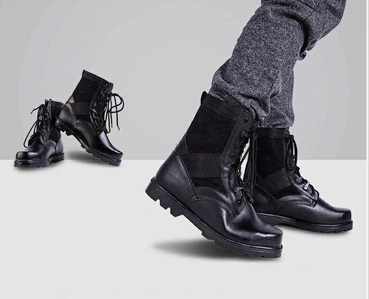 戰術鞋 軍靴男特種兵中幫皮靴防爆靴沙漠靴男靴軍鞋作戰靴飛行靴保安鞋【顧家家】