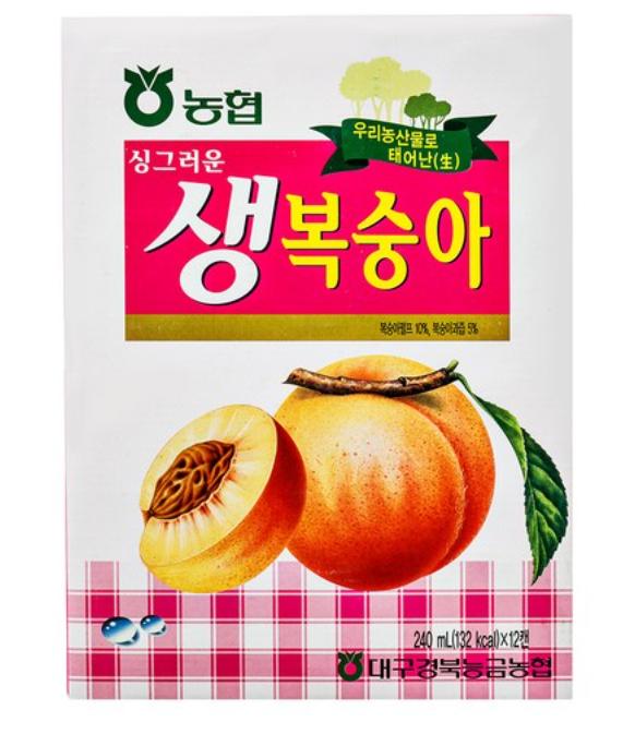韓國 水蜜桃汁 240ml(此商品整盒販售)