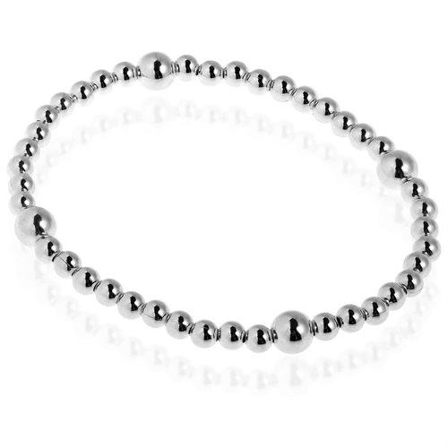 Sleek Elastic Bead Link .925 Sterling Silver Bracelet 1