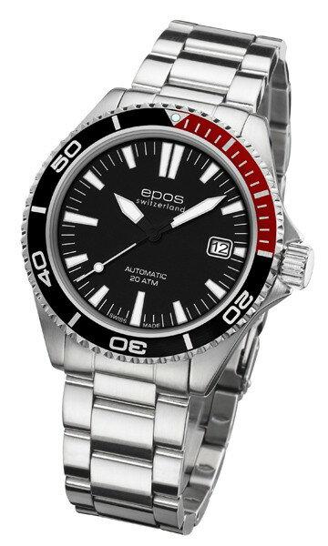 epos 愛寶時 3413.131.91.15.30 紅黑圈活力潛水機械腕錶/黑面41mm