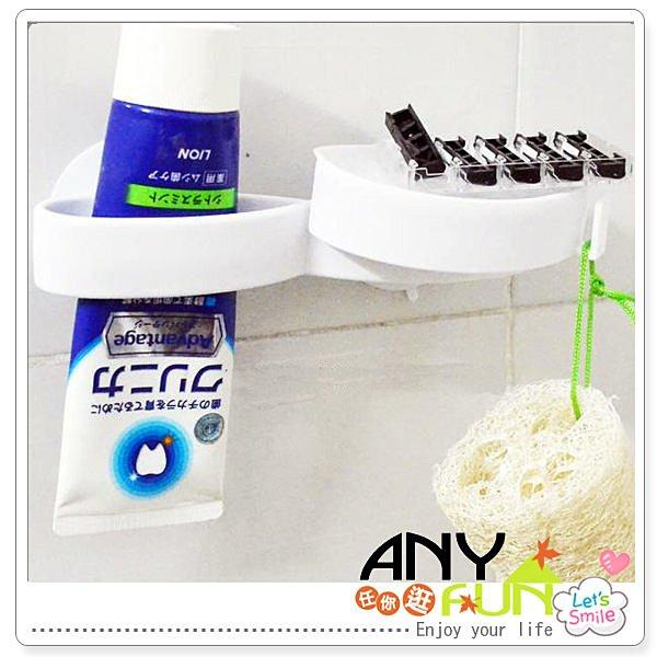 ※ANYFUN任你逛※【L3073】日本空間利用雙插洗面乳吸盤掛架 帶收納肥皂托盤 可拆卸組裝