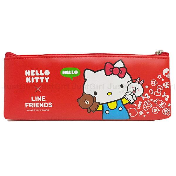 LINE 熊大兔兔 HELLO KITTY 鉛筆盒 筆袋 收納袋 文具 正版日本授權 * JustGirl *
