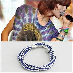 SHINee 泰民 同款藍白交錯條紋多層次纏繞復古鈎扣皮革手環手鍊
