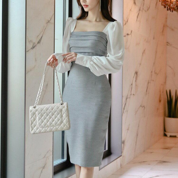 2021春冬新款韓版時尚氣質顯瘦包臀職業打底連衣裙禮服裙2017