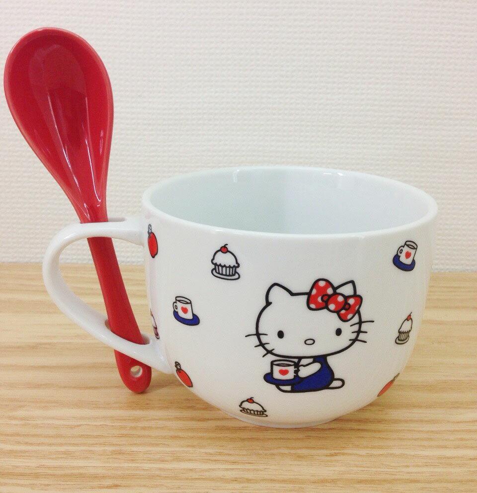 【真愛日本】15101500007 湯碗杯附湯匙-KT抱紅蘋果 KITTY 凱蒂貓 三麗鷗 杯子 湯杯生活用品 居家