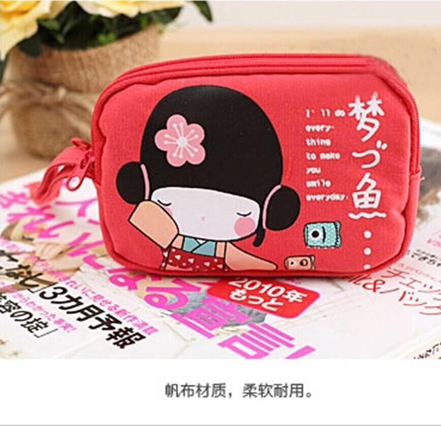 <br/><br/>  安古柰子?拉鏈帆布零錢包手機包-紅色<br/><br/>
