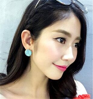 PS Mall 歐美風百搭時尚復古大理石紋路簡約幾何圓形氣質耳環耳飾【G2249】