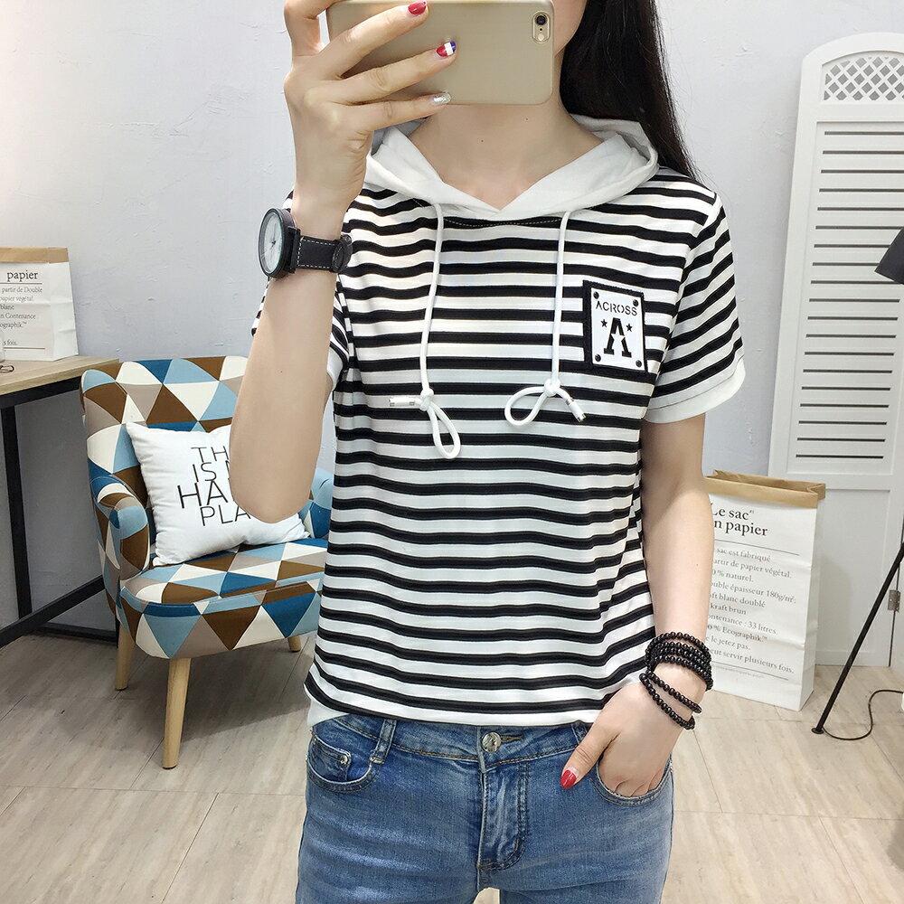 韓版純棉條紋百搭連帽短袖T恤(2色M~2XL)【OREAD】 0