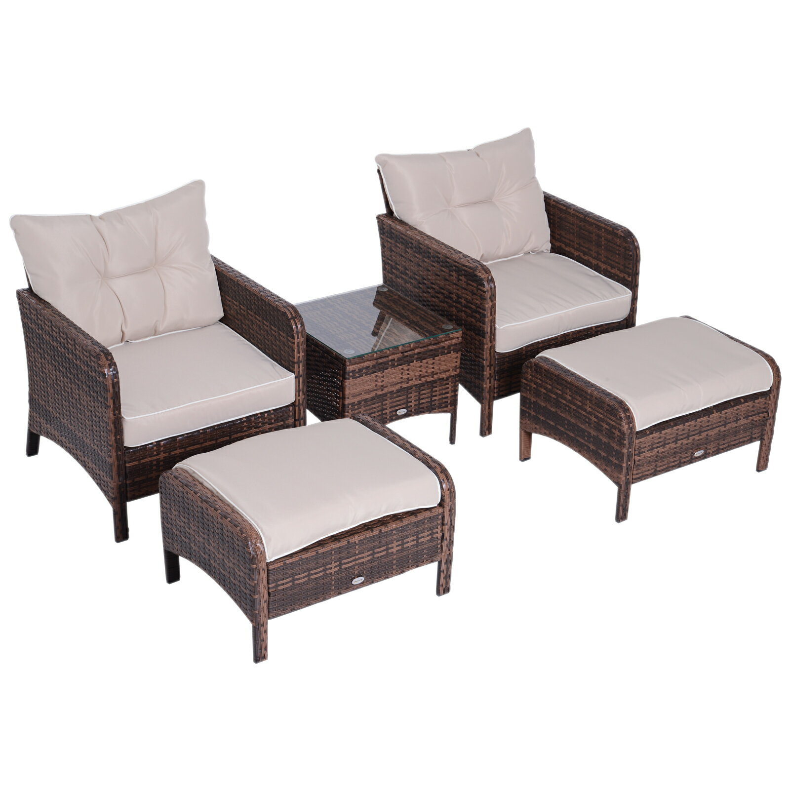 Outsunny 5 Piece Rattan Wicker Outdoor Patio Conversation Set With 2 Cushioned Chairs Ottomans