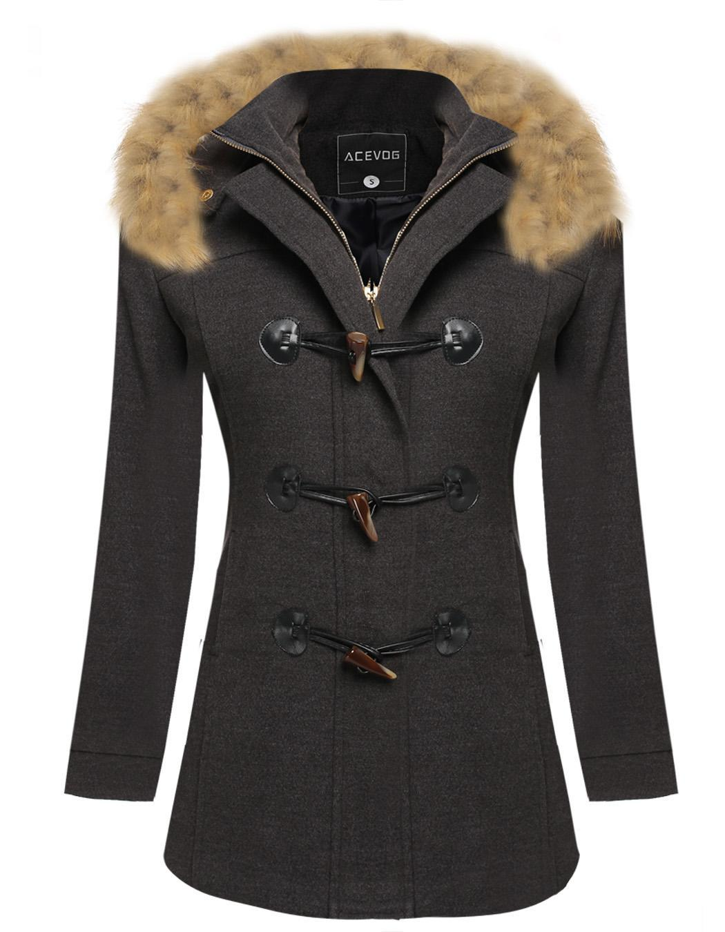 Women Detachable Faux Fur Hooded Long Solid Slim Wool Blend Coat 1