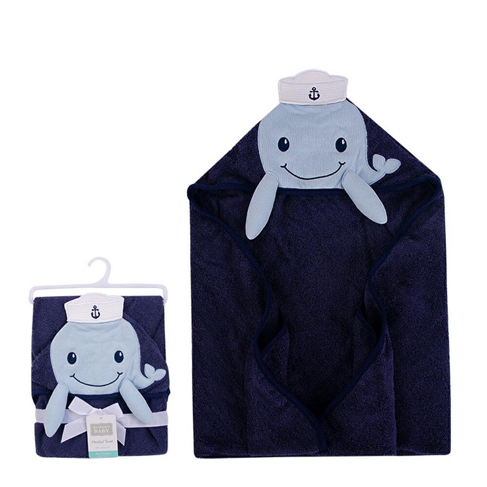 美國  luvable friends  100% 純棉嬰幼兒動物造型連帽浴巾/包巾_藍色鯨魚(LF00346)