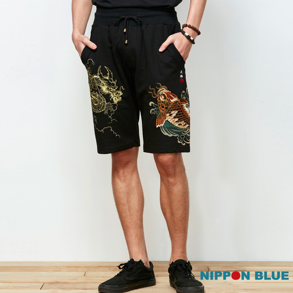 【春夏新品】泥棒藍-祥鯉龍紋精繡棉短褲 - BLUE WAY  NIPPON BLUE日本藍 0