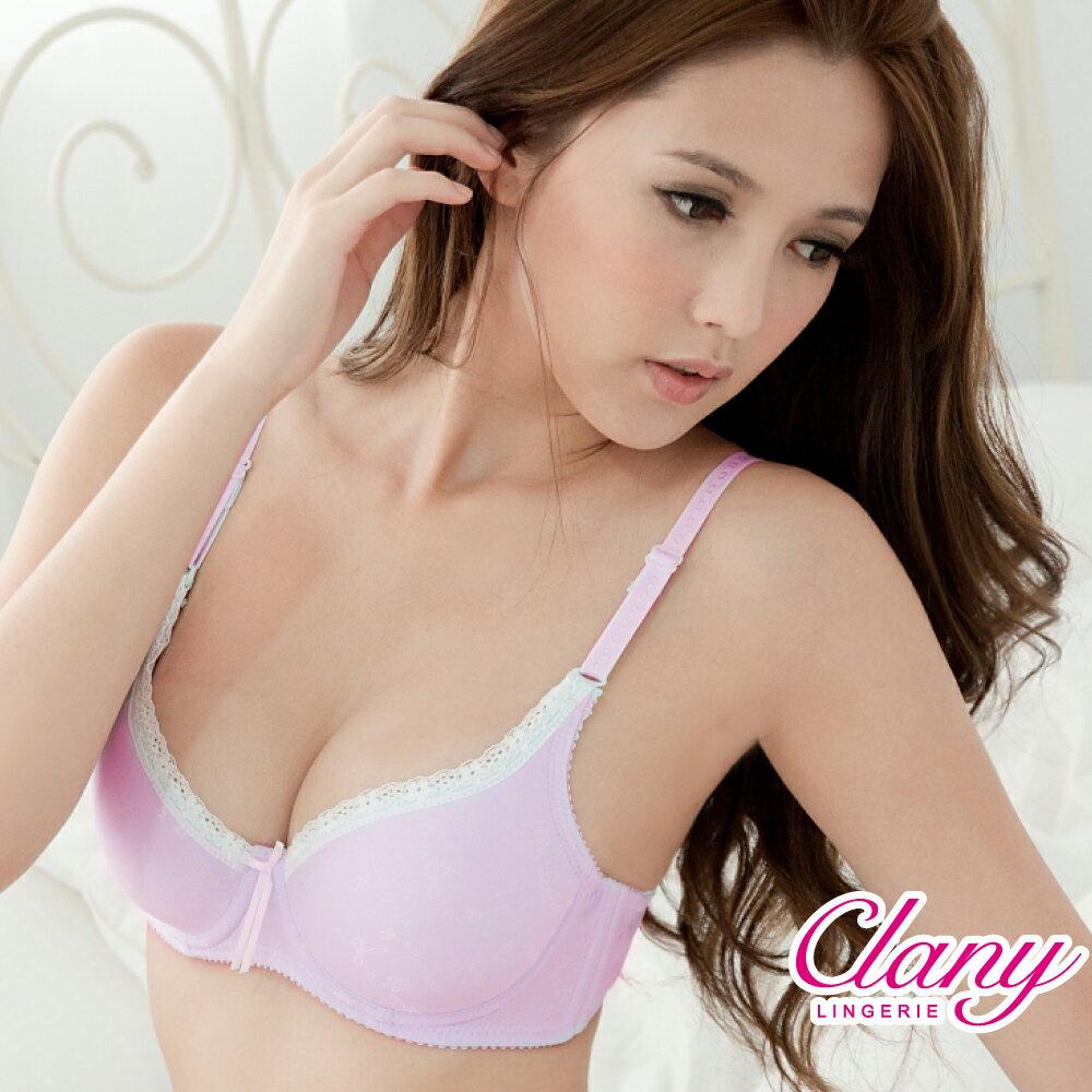 【可蘭霓Clany】甜美QQ厚墊心機蕾絲緹花AB內衣 優雅紫 6382-91 0