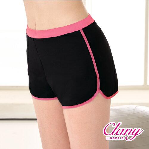 【可蘭霓Clany】防走光時尚顯瘦L-XL運動短褲 時尚黑/桃邊 5921-35 0