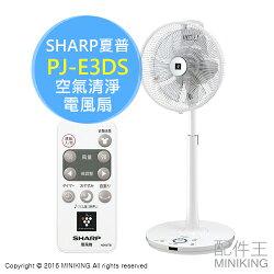【配件王】 日本代購 SHARP 夏普 PJ-E3DS 空氣清淨 電風扇 立扇 負離子 32段 另 PJ-F2DBG