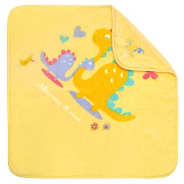 【麗嬰房】nacnac恐龍親子抗菌帽毯禮盒-黃色