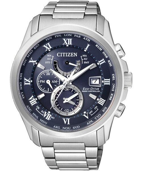 CITIZEN星辰AT9080-57L雅痞紳士電波光動能腕錶/藍面43mm