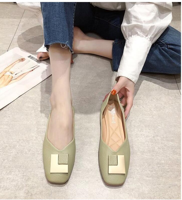 FINDSENSE X 女士 休閑 單鞋 女鞋 圓頭 低跟 方跟 PU 淺口 女鞋