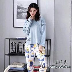 純棉-流行花版落肩款居家服套裝(衣+褲) M-XL【漫時光】(D123)