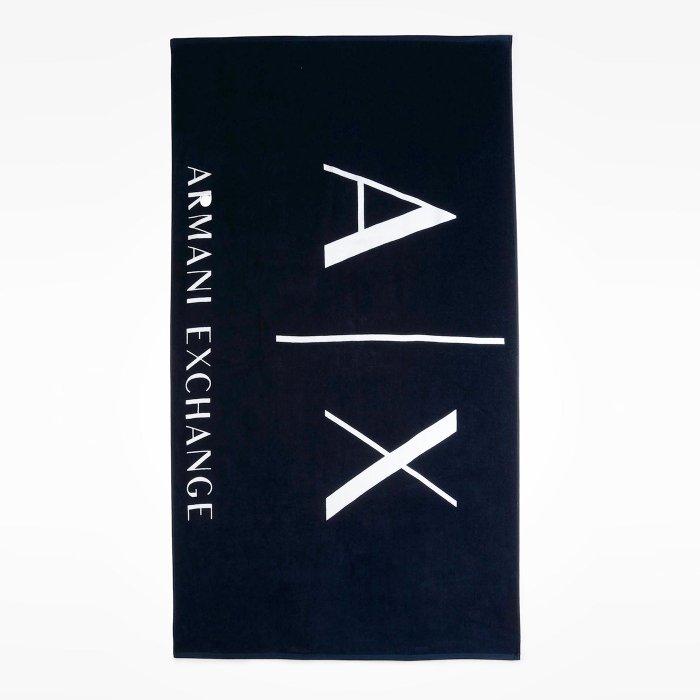 美國百分百【全新真品】Armani Exchange 超大浴巾 沙灘巾 野餐墊野餐布 毛巾 海灘巾 AX 深藍 H848