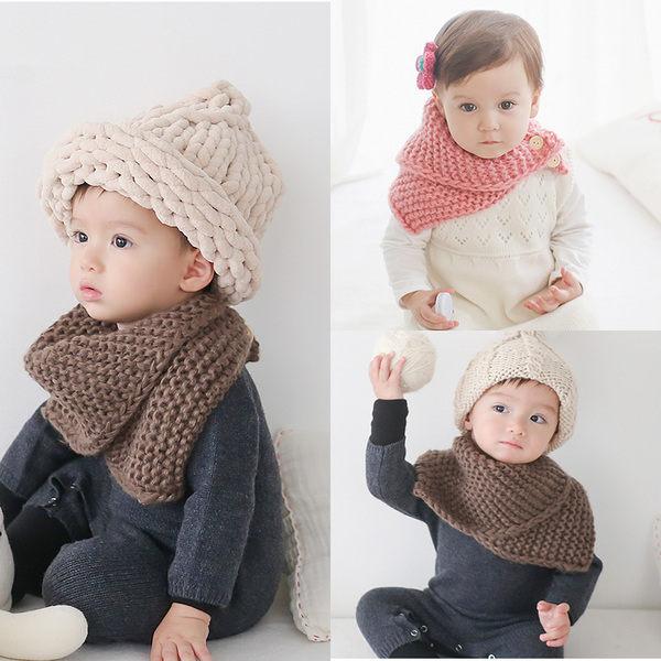 寶寶圍巾  毛線鈕扣針織圍脖 (1-6歲) BU11130
