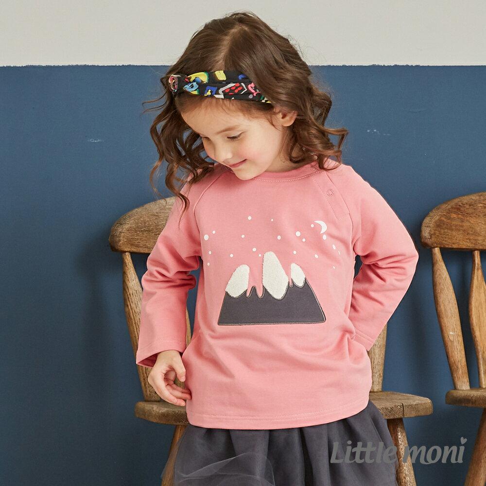 Little moni 圓領立體刺繡毛圈上衣 -粉紅 1