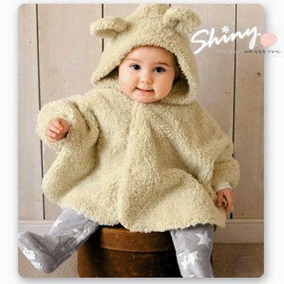 【TZ006】shiny藍格子-寶寶雙面加厚夾棉小熊披風/斗篷