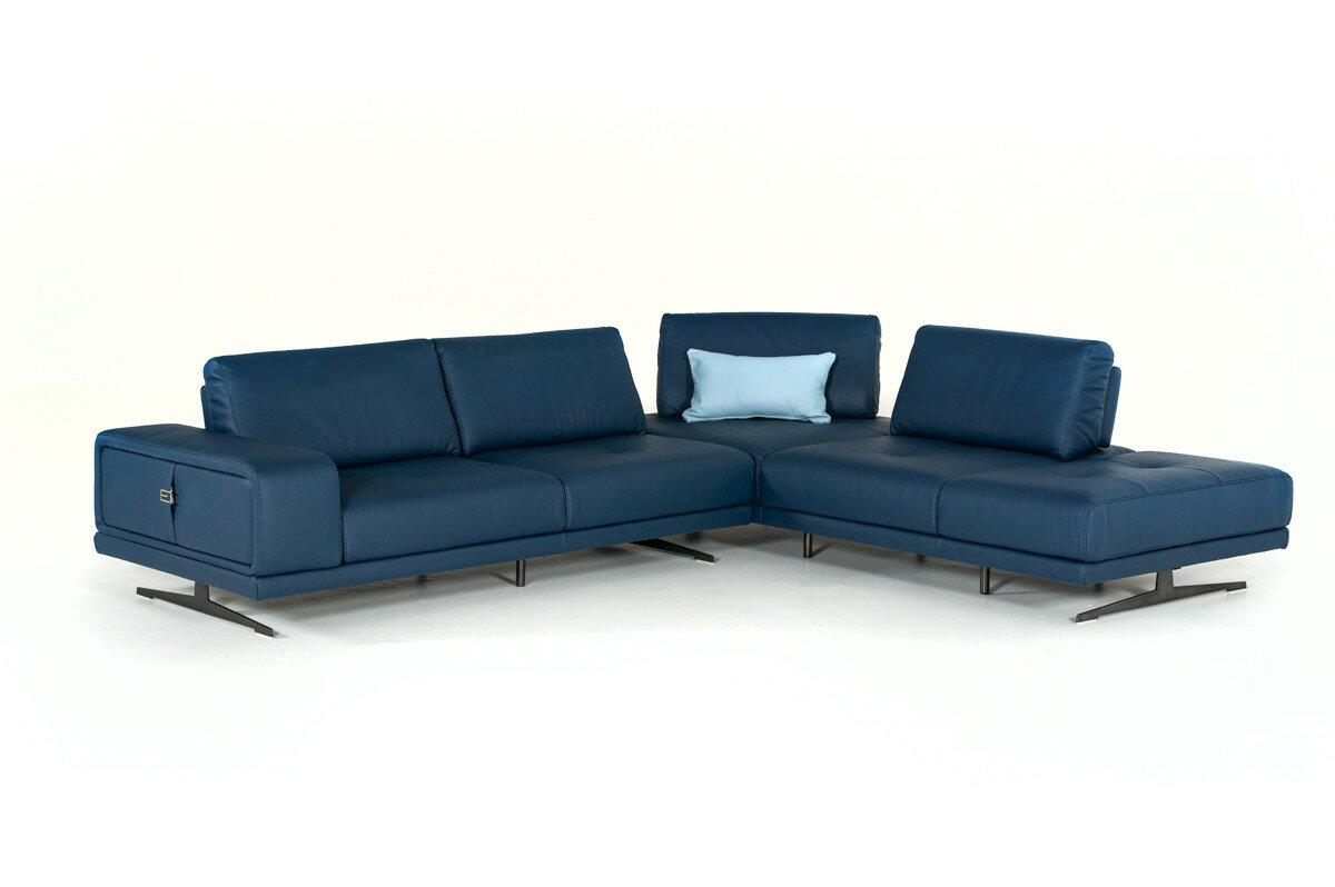 Estro Milano Spazio Italian Modern Blue Leather Sectional Sofa 0
