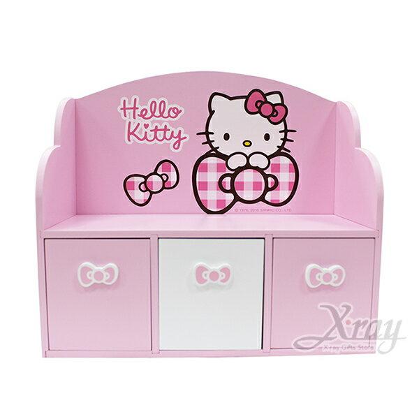 X射線【C381046】HelloKitty格紋3抽收納盒,置物櫃收納櫃收納盒抽屜收納盒木製櫃木製收納櫃收納箱桌上收納盒