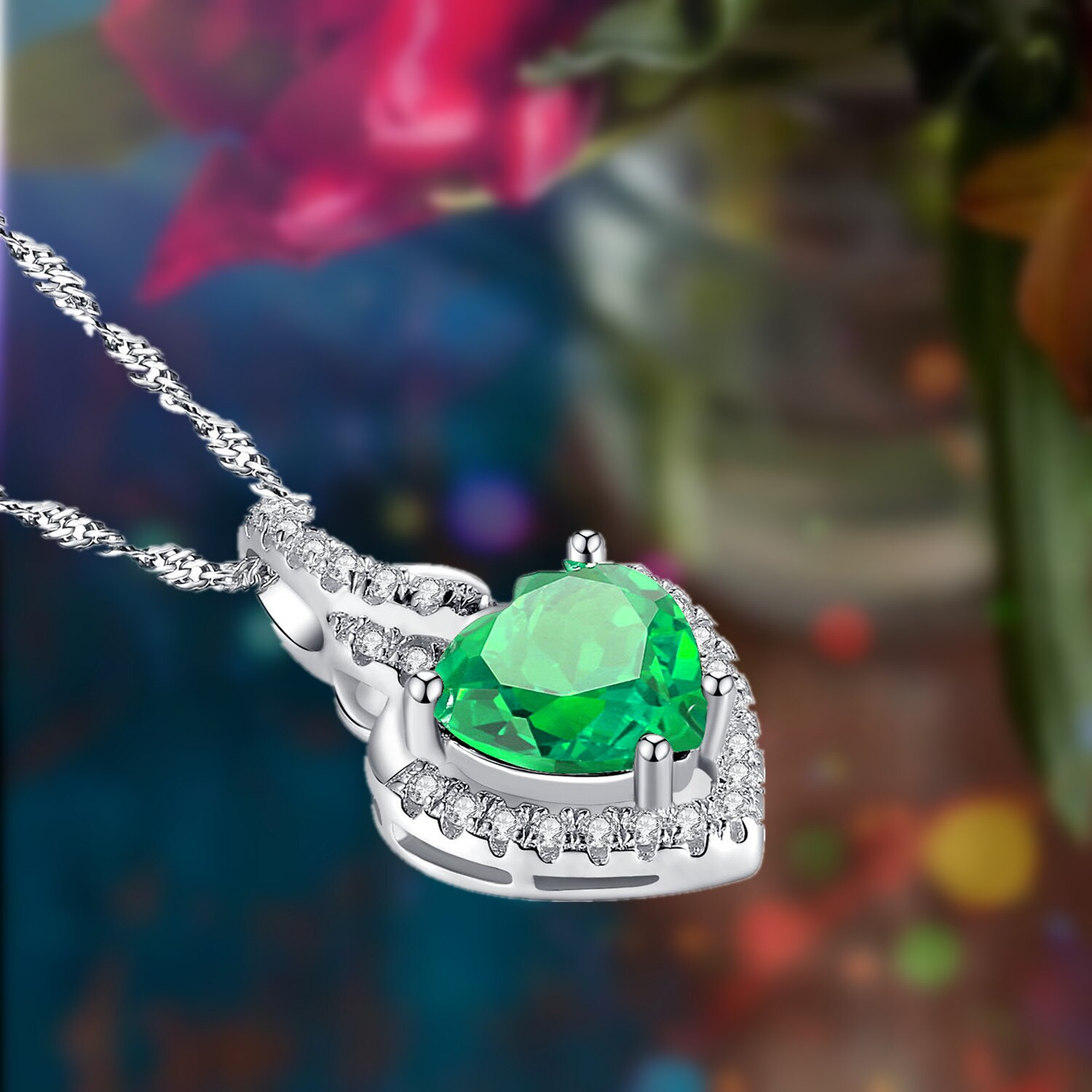 Mabellajewelry rakuten mabella sterling silver simulated emerald mabella sterling silver simulated emerald heart pendant necklace gifts for women18 3 aloadofball Images