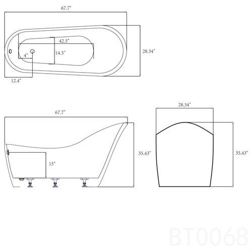 "AKDY 68"" White Acrylic Body Contemporary Freestanding Soaking Bathtub 1"