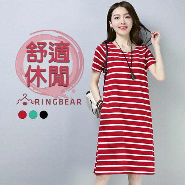 連衣裙--優雅休閒風格經典橫條紋口袋修身百搭圓領短袖洋裝(黑.紅.綠M-2L)-D517眼圈熊中大尺碼