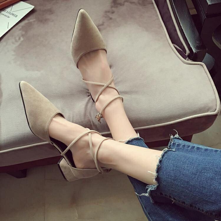 涼鞋女夏新品正韓包頭百搭尖頭綁帶晚晚鞋子中跟粗跟羅馬單鞋【限時八折】