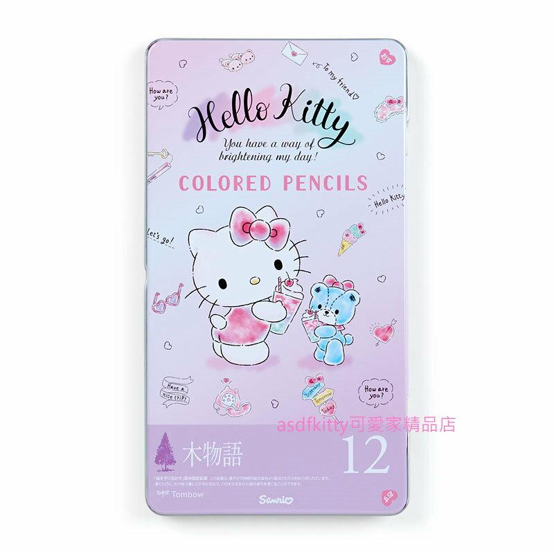 asdfkitty可愛家☆KITTY泰迪熊冰淇淋汽水鐵盒12色色鉛筆-日本正版商品