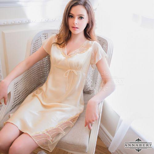 愛的蔓延大尺碼Annabery短袖V領嫩黃緞面睡衣性感睡衣NY16020017