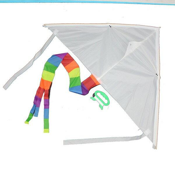 空白風箏 彩繪風箏 DIY風箏(彩色尾巴) / 一支入 { 定40 }  三角風箏 進口風箏~2363-2 1